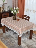 high end western tablecloth rectangular solid wood coffee table desk living room lace square household plaid tablecloth