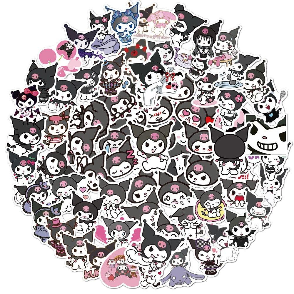 japan cartoon sanrio twin xo kuromi melody kitty keroppi pekkle comics tsum bb hair rope girls hair band for girls gift 10/50/100PCS Kuromi Melody Sticker Keroppi Pekkle Gudetama Stickers for Children Diary Scrapbooking Stationery Waterproof Decals