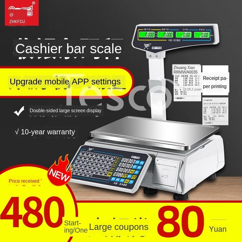 Balança eletrônica comercial supermercado loja de frutas especiado caixa registadora especial pesando tudo-em-uma escala de impressão da máquina
