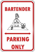 bartender parking only for driveway sign retro metal tin sign plaque poster wall decor art shabby chic gift