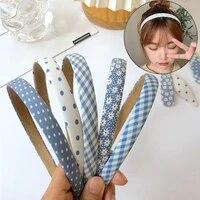 tiara hair accessories hair hoop fashion head wrap blue sweet summer floral thin headbands vintage korean plaids girls hairbands