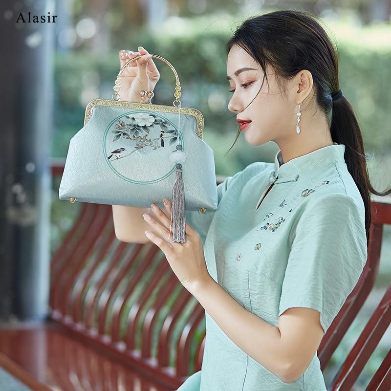 Alasir, seda hecha a mano, bolso con Marco, bolso de Flor Retro, estilo chino, Cheongsam, bolsos de hombro Diagonal para mujeres, borla Vintage
