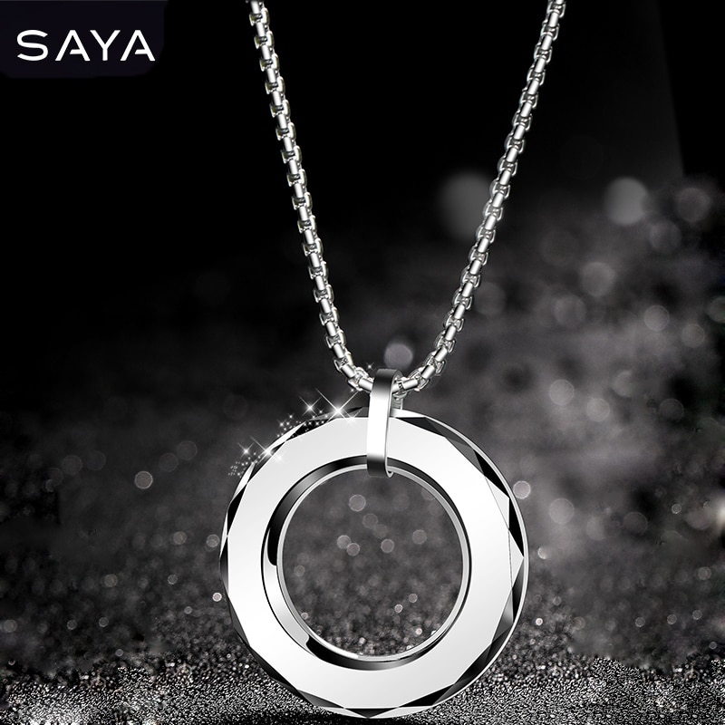 2021Men Fashion High Polsihed Tungsten Carbide Pendants Necklace with Titanium Steel Necklace Round Shape, Free Shipping free shipping 20 holes hole size 1 10 3 00mm half round shape draw plate jewelry tungsten drawplates