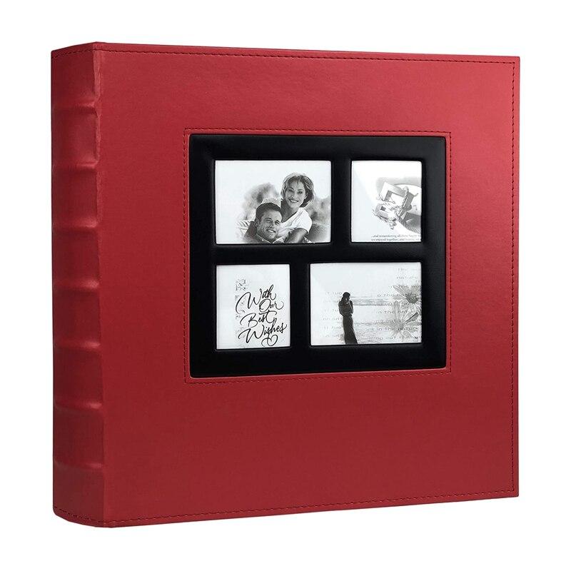 Foto Album Hält 4X 6 400 Fotos Seiten Große Kapazität Leder Abdeckung Binder Hochzeit Familie Baby Foto Alben Buch (rot)