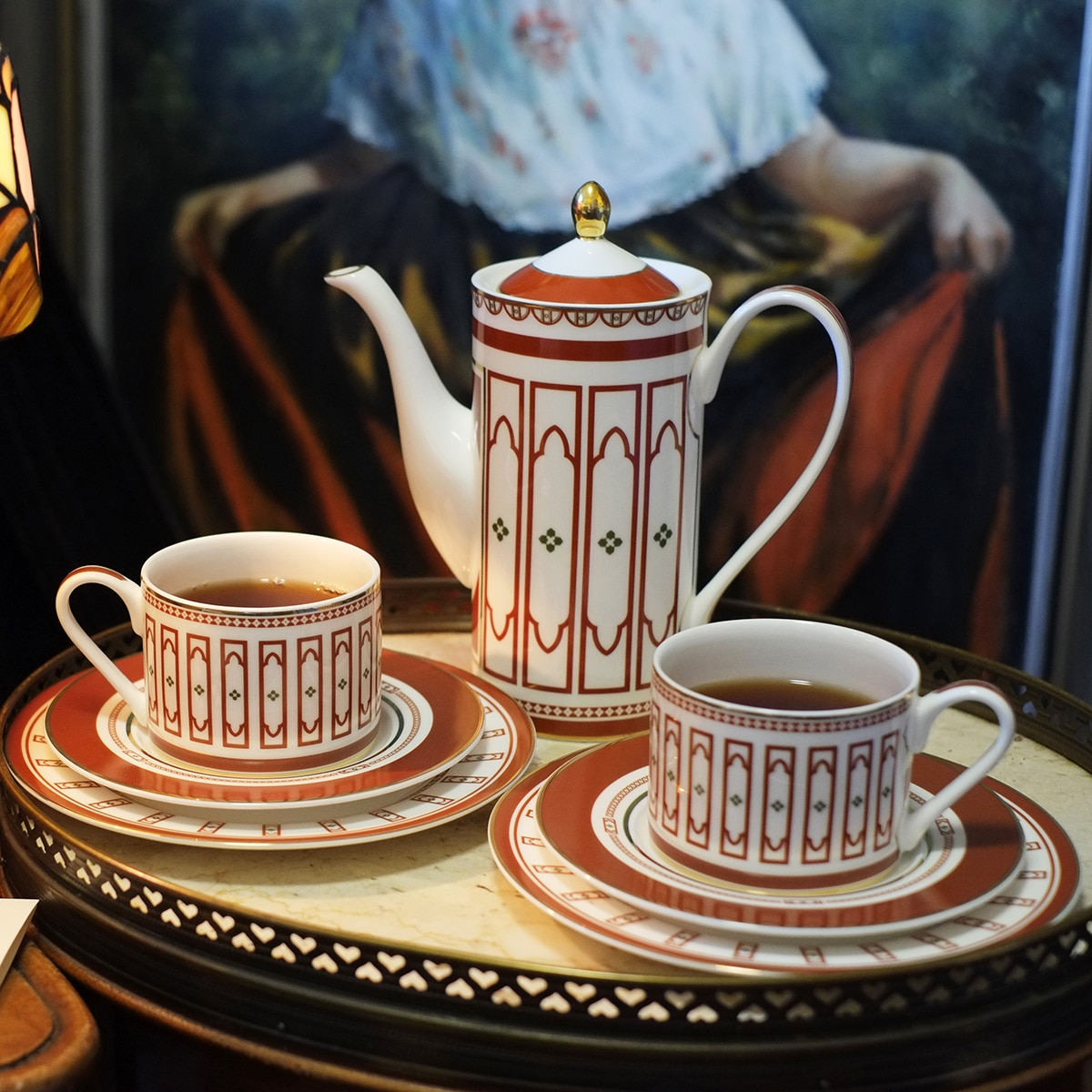 Nórdicos 15 obra Gouden Rand gris Roze Marmer Patroon Keramische Koffie te conjunto Ins Netwerk Creatieve China de hueso te conjunto olla Cu