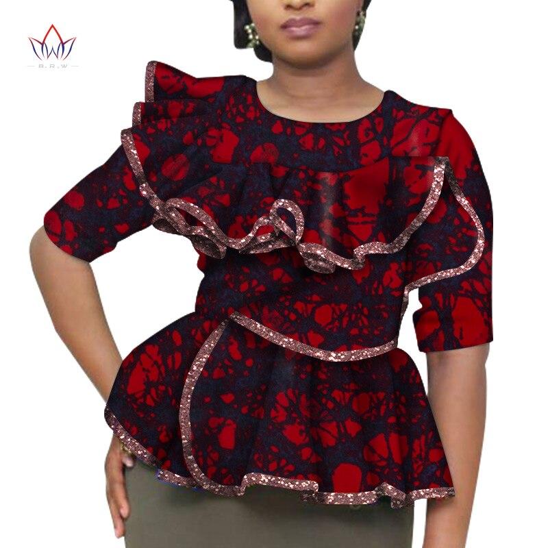 Camisas femininas africanas moda dashiki sem alças topos flor puff hem projetos tshirt feminino roupas africanas wy6517