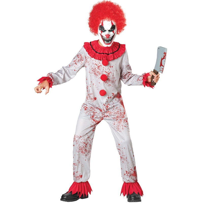 Umorden Fantasia Purim Halloween Costumes for Child Kids Boys Scary Creepy Bloody Killer Circus Clown Jester Costume Cosplay halloween purim costumes for kids girls carnival the king prince costume for boy boys children fantasia infantil cosplay child