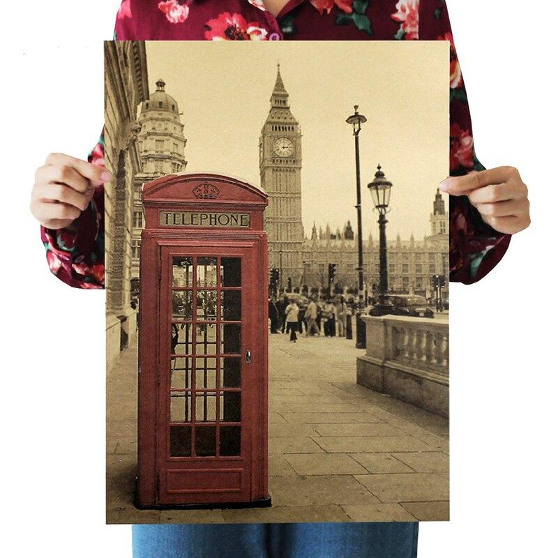 Teléfono rojo London Booth de papel Kraft cartel sala de estar dormitorio Casa Decor Retro pared etiqueta engomada 51,5 36 Cm x 36 Cm