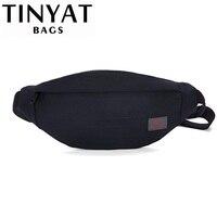 Мужская поясная сумка TINYAT, повседневная холщовая сумка-пояс, женская сумка на пояс для хранения телефона, денег, черная сумка на бедра серог...
