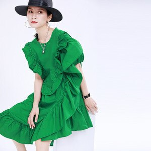 2020 Three-dimensional Tree Fungus-like Lacework Women Dress Summer Women's Loose Slim Ruffles Dress Bodycon Dress