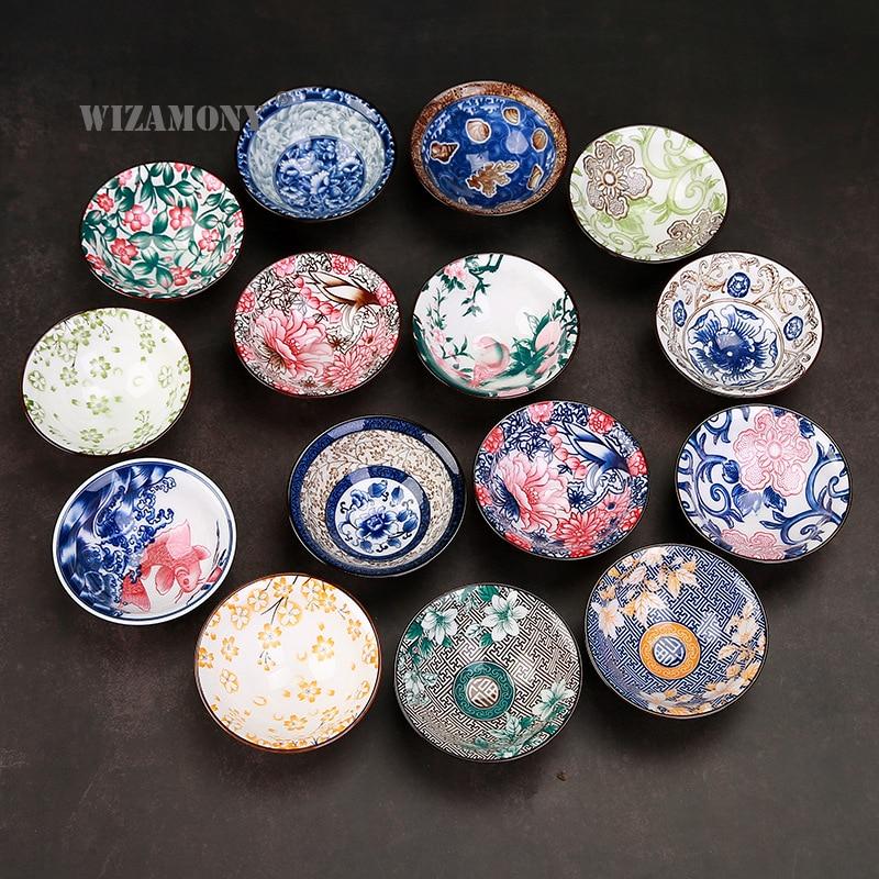 1PCS!!WIZAMONY Bue and White Color Painted Chinese Porcelain Tea Bowl Teacup Tea Set Ceramic Atique Glaze Kung Fu Tea Master Cup
