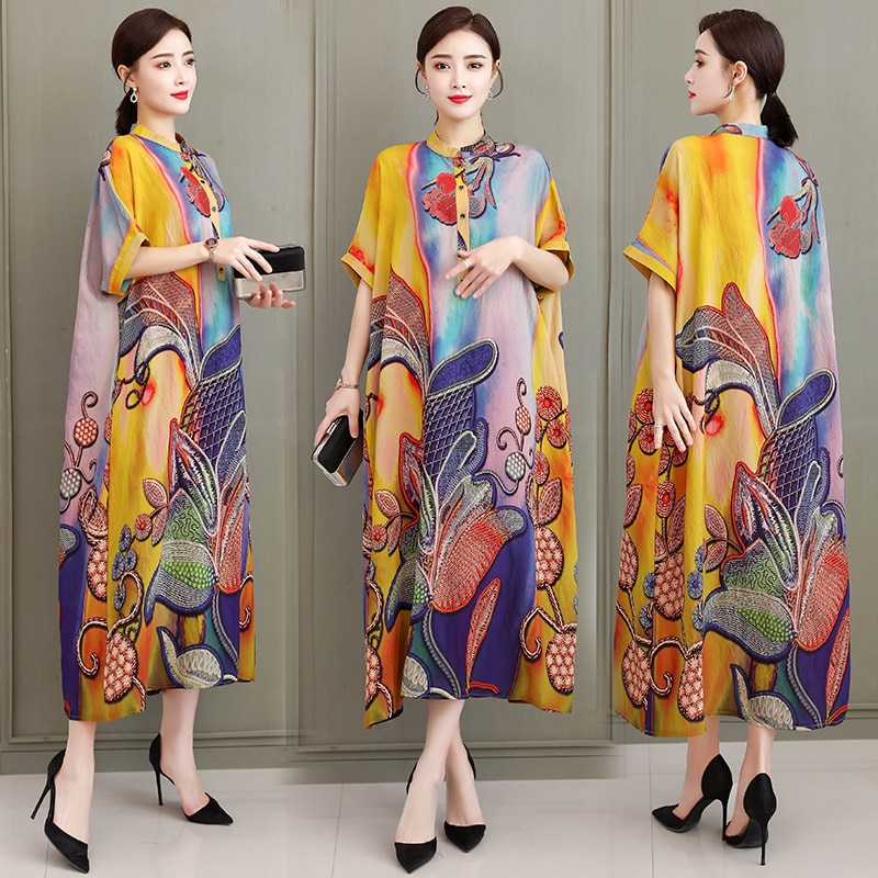 Woman Dress Plus Size Summer 2021 Lady Fashion Floral Print Casual Oversized Beach Party Loose Dresses 5XL