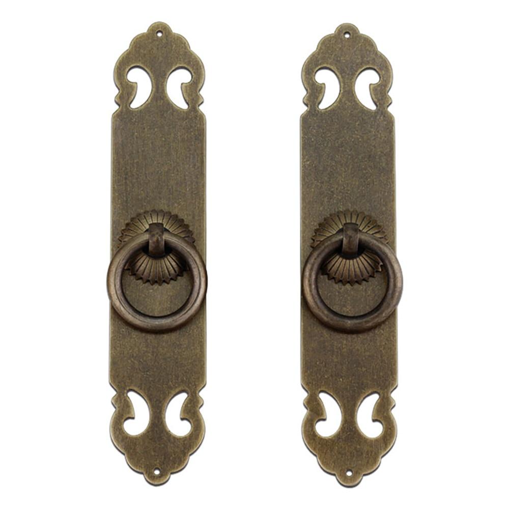 Tiazza 2 uds estilo chino antiguo de latón de la placa recta tiradores cajón armario, estantería puertas de armario ventanas