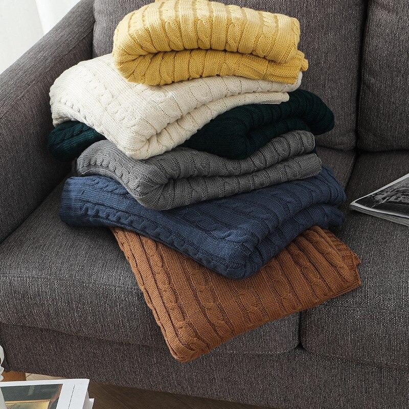 الشمال أريكة بطانية ضوء الفاخرة مكتب غرفة مكيفة الهواء ل Nap الدفء بطانية ستة ألوان محبوك لحاف السرير نهاية منشفة الراحة