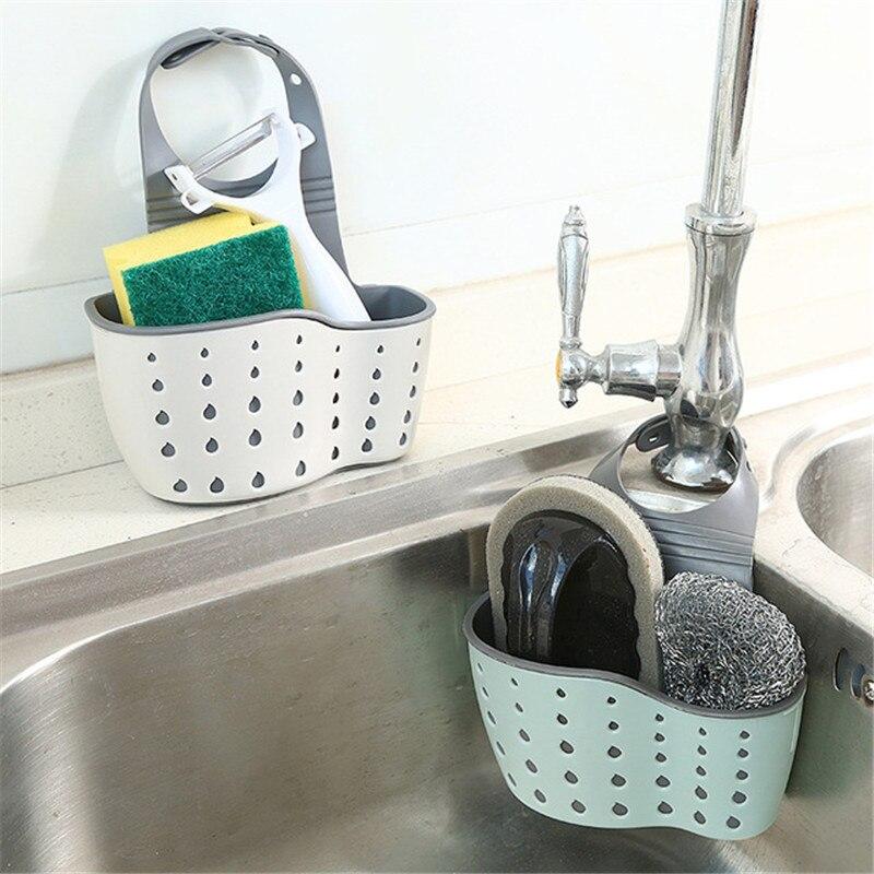 Acessórios de cozinha pendurado drenagem cesta snap pia sabão esponja titular ferramentas cozinha esponja organizador cozinha gadgets