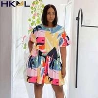 summer fashion dress women plus size s printed o neck short sleeves ruffles curve colorful mini dress