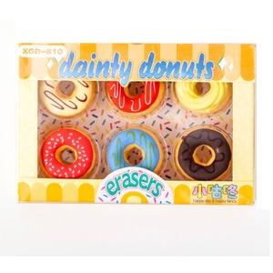 6pcs/lot Cute Candy color donut Rubber Eraser LovelyPencil Eraser Sand Rubber school office supplies