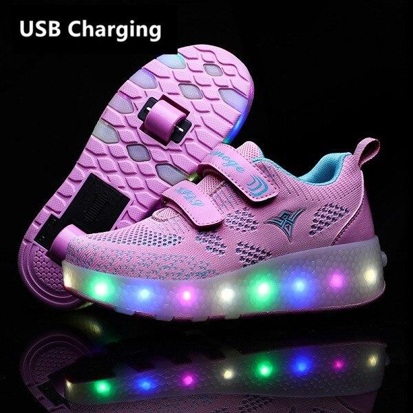 Eur28-43 кроссовки с колесами USB зарядка светящийся светодиодный светильник до 2020 роликовые скейты колеса обувь для мальчиков и девочек Тапочк...