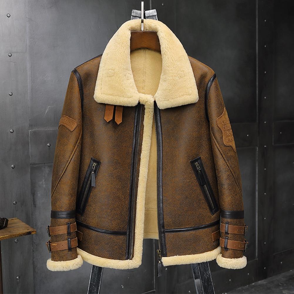 2019 New Mens B3 Sheepskin Shearling Jacket Lapel Leather Jacket Badge Airforce Flight Coat Winter Mens Fur Coat