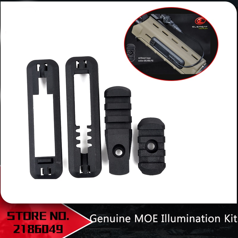 Element Tactical, Airsoft Polymer MOE, Kit de luminación de guardamanos, cubierta de riel, montaje de pistola, accesorios EX253