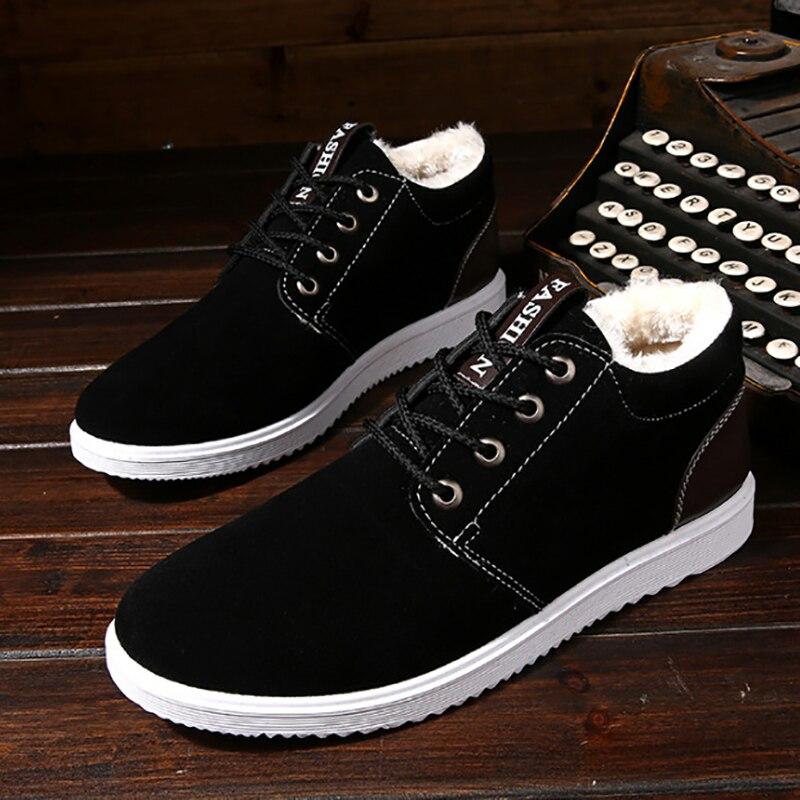 Botas de nieve para hombre espesar zapatos de ocio de algodón para estudiantes zapatos de lona de encaje abrigados zapatos de invierno para hombres tela de algodón 34 -44
