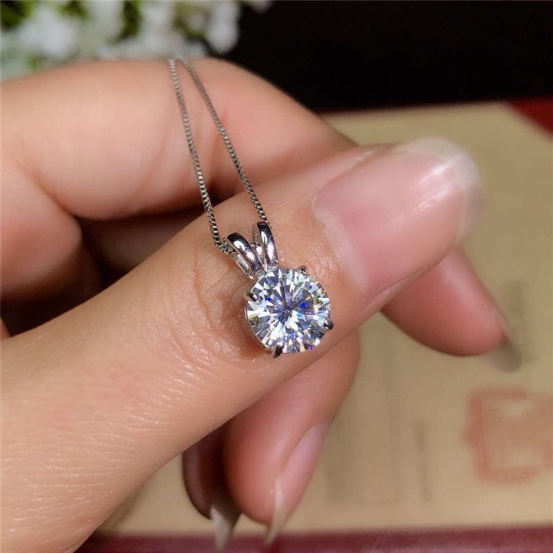 2 Carat Round Solitaire Zirconia Diamond Pendant Necklace Women Wedding Jewelry Sterling Silver 925 Birthday Present