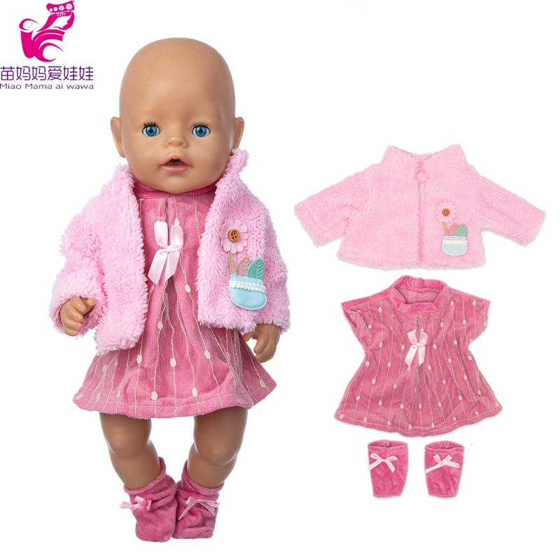 clothes for baby born dolls winter fur cloak coat windbreaker clothes for 18 inch doll outwear sets girl christmas dress 43cm Baby Doll Clothes Jacket Dress For 17 inch Dolls Clothes Toys Doll Outwear