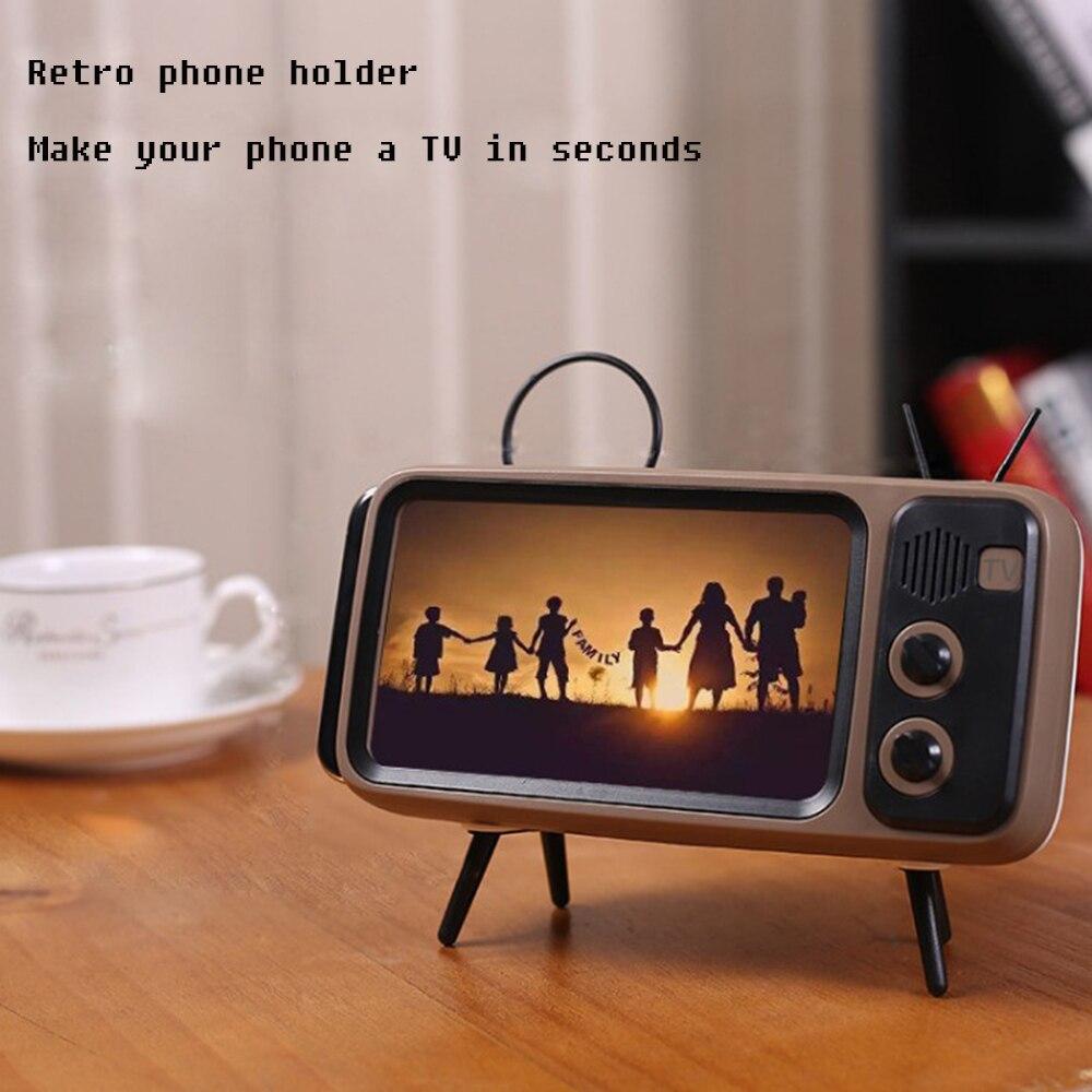Diseño de TV Retro portátil teléfono móvil soporte para escritorio soporte perezoso soporte de montaje soporte de teléfono aspecto Retro TV