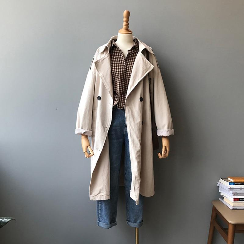 Moda trench coat feminino primavera casacos longos blusão cor sólida solta outwear outono casual feminino azul marinho trench roupas