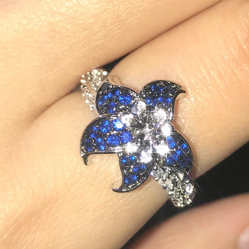 Anillo de circón azul de la flor para las mujeres anillo de boda del compromiso joyería de calidad alta de moda
