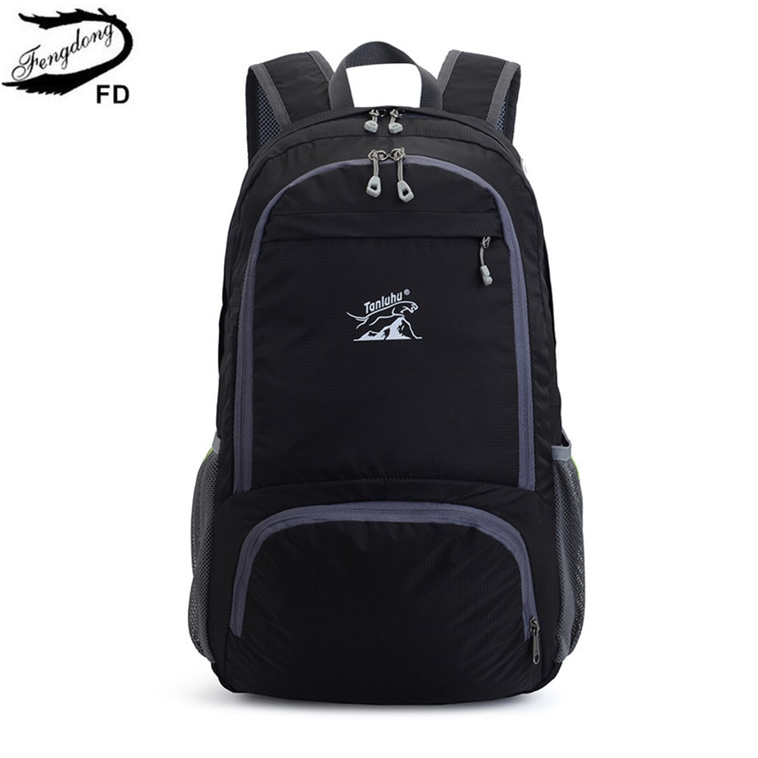 Мужской складной спортивный рюкзак Fengdong, серый или черный ультралегкий водонепроницаемый большой дорожный рюкзак с местом для хранения, ос...