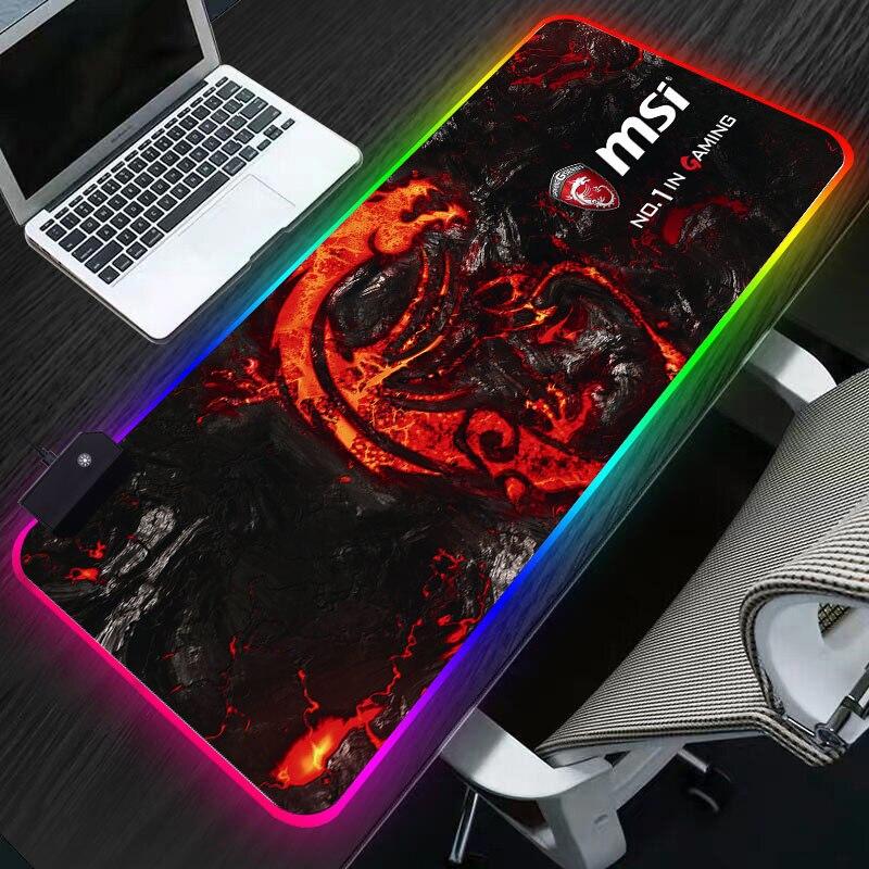 Alfombrilla de ratón LED RGB Gaming dragón Hyper Beast iluminación ratón de ordenador alfombrilla de escritorio de goma XL para ordenador portátil para LOL Dota soporte personalizado