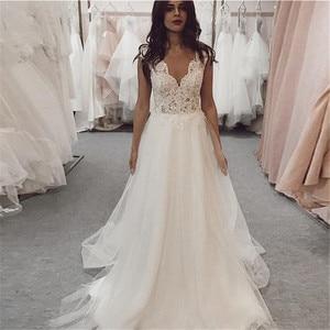 MYYBLE V Neck 2021 Wedding Dresses Lace Appliques Tulle Wedding Gowns Vestido de Noiva Longo Custom Made Sweep Train Ball Dress