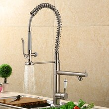 Kitchen Sink Faucets Solid Brass Pull Down Spring Spray Nozzle Mixer Tap Hot & Cold Rotating Deck Mounted with Ceramic Handle
