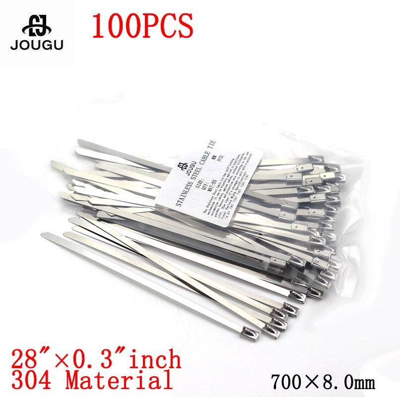 100 pces 8x700mm 304 material de aço inoxidável forte marinho grau metal cabo laços zip tie envolve exaustão