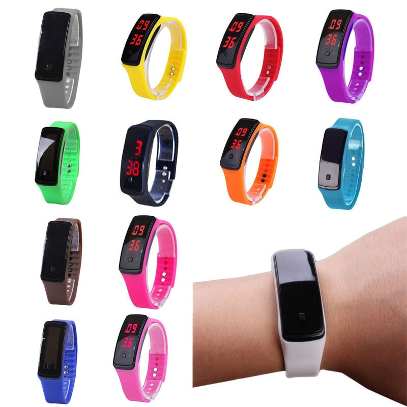 1pc silicone led light digital rubber sport wrist child watch in yellow blue pink green red white black ladies horloge kinderen Fashion Sport LED Women Watches Candy Color Silicone Rubber Touchscreen Digital Watches Waterproof Bracelet Wrist Watch TC21