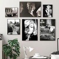 Настенные картины с Мэрилин Монро для гостиной, Постер со звездами и принтом, настенное художественное полотно, домашний декор, черные и бел...