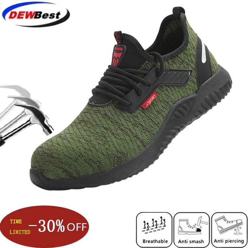 Dewbest zapatos indómibles zapatos de trabajo de seguridad para hombres con puntera de acero botas a prueba de perforaciones zapatillas de deporte ligeras transpirables
