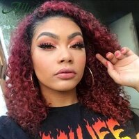 kinky curly wigs for black women remy brazilian human hair t part human hair wigs natural ombre brown burgundy lace wigs allure