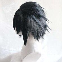 Pelucas de pelo sintético en capas, pelo corto y esponjoso de color negro, fibra resistente al calor, Cosplay, Uchiha Sasuke, con gorro
