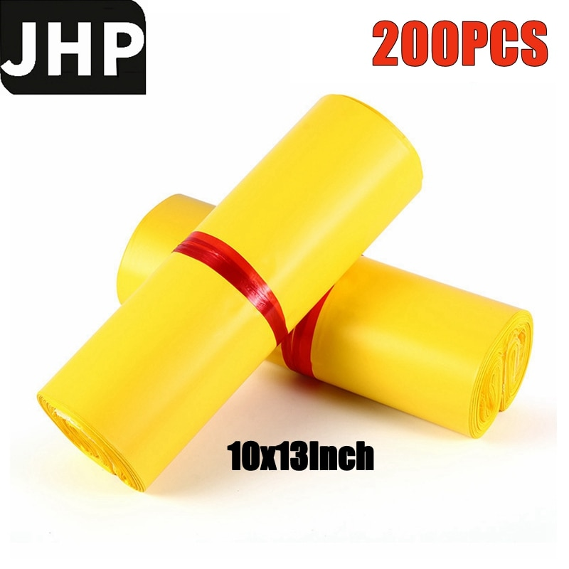 200PCS/Lot Yellow Color 10x13Inch Postal Courier Bags Cost-effective Self Adhesive Post Mailing Package Plastic Poly Mailer
