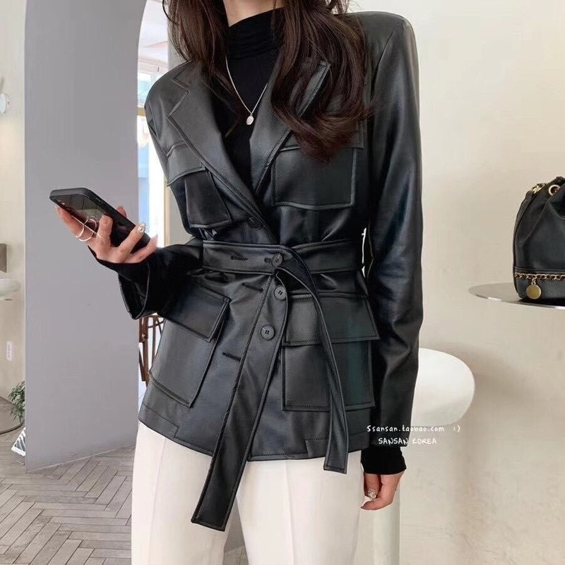 Autumn Spring Black White Real Sheepskin Genuine Leather Suit Jackets Womens Overcoat Korean Jacket Coats Ladies Suits Outerwear