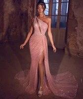 sparkle rose pink prom dresses 2021 sexy slit one shoulder sequin mermaid vestidos de fiesta noche evening party gown