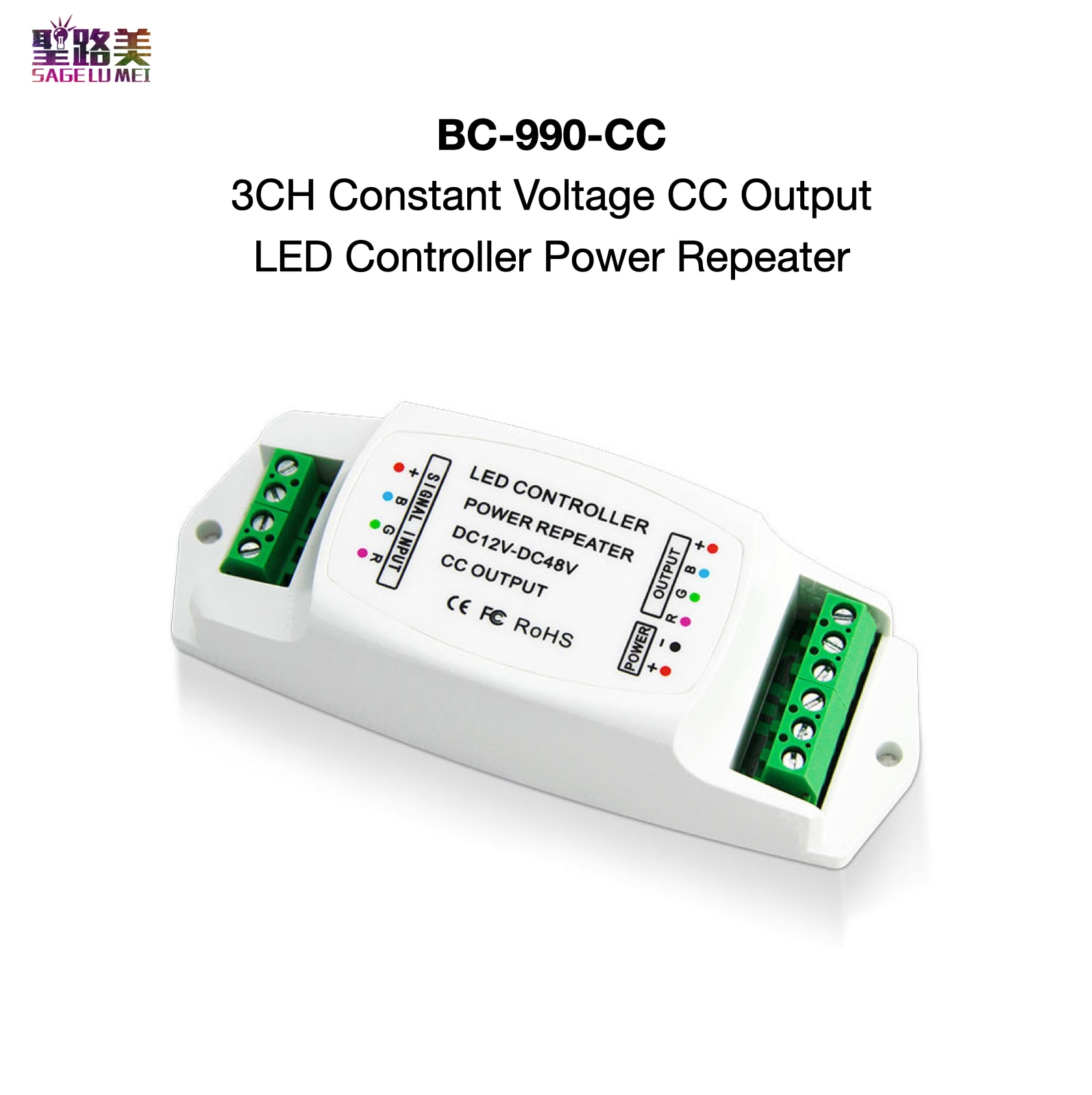 BC-990-CC 3CH voltaje constante CC salida LED controlador de potencia repetidor DC 12V ~ 48V Max.350mA/700mA cada canal PWM BINCOLOR