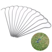 12pcs 18cm alloy silver tent pegs round tent stake outdoor nails tent accessories camping fishing canopy stakes nails ground pin