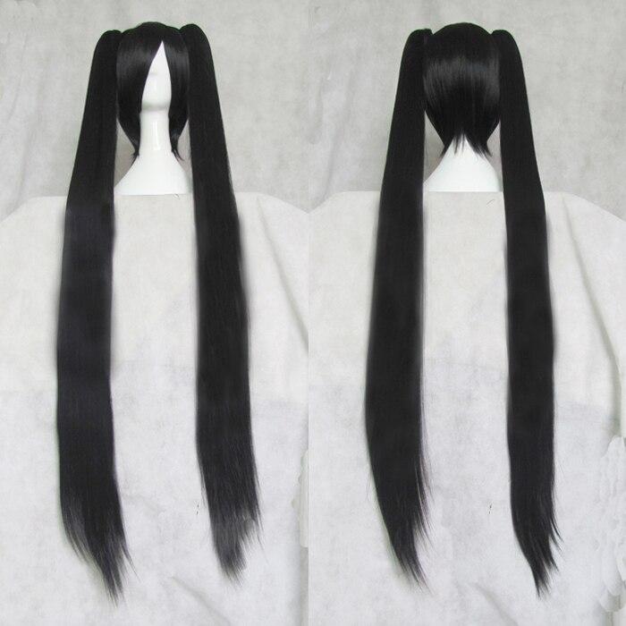 Vocaloid zatsune miku linali lee cosplay perucas de cabelo sintético peruca base preta e dois longos rabo de cavalo em linha reta cabelo + boné de cabelo livre