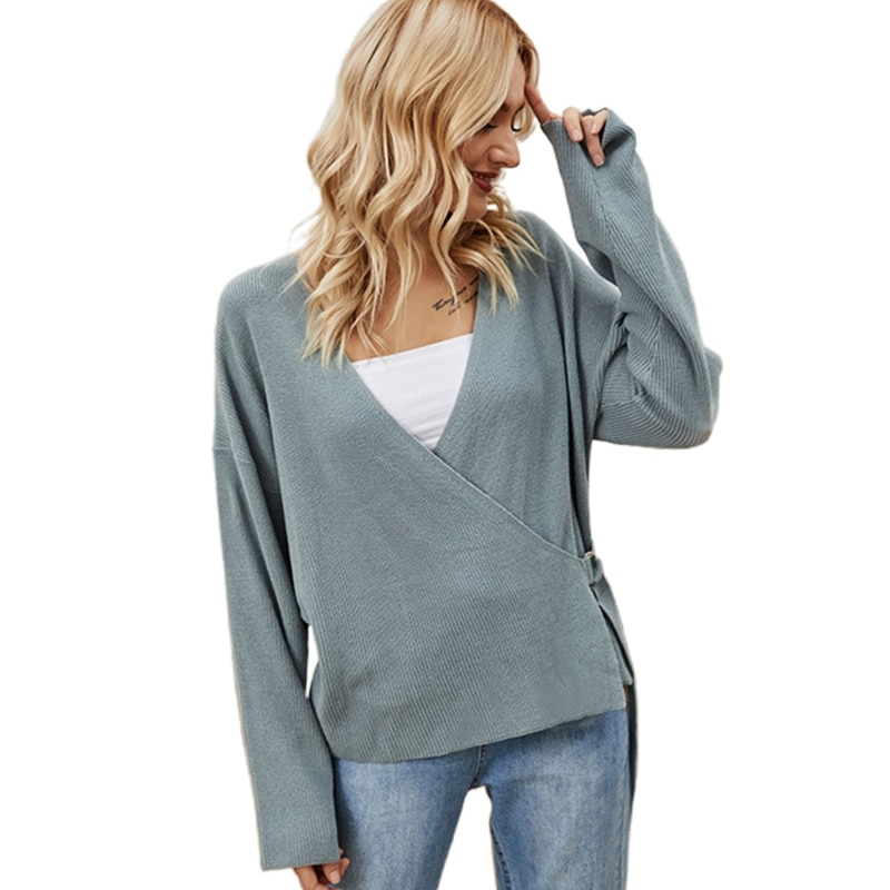 Women Long Sleeve Sweater Sexy Wrap V-Neck Knitted Cardigan Belted Waist Tops enlarge
