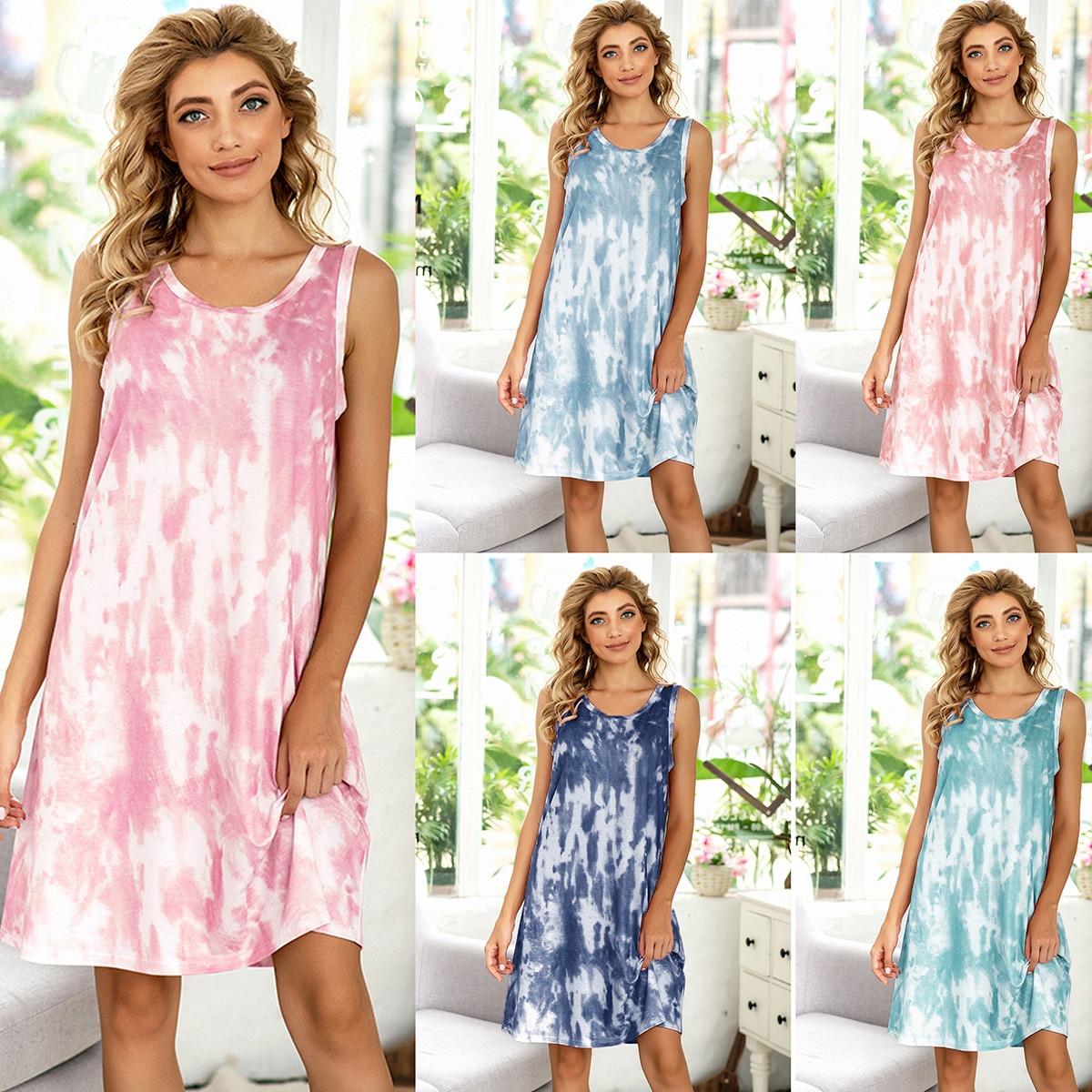 2020 New Summer Casual Printed Tie-dye Nightdress Home Wear Womens Nightgown Sleepwear Sexy Sleepwear Night Gown Sleep Wear