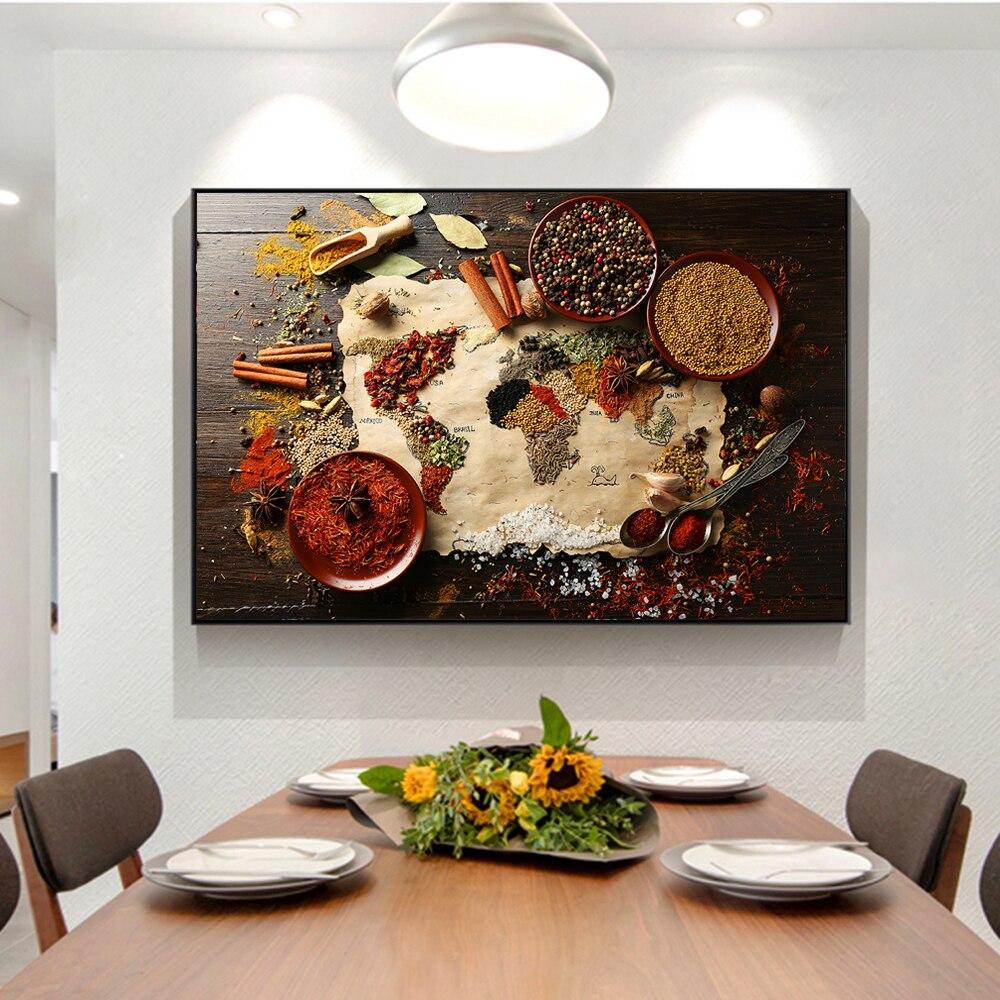 Mapa del mundo de hierbas y especias, pósteres de lona e impresiones artísticos, pintura sobre lienzo con tema de cocina para la pared, imagen artística para la cocina