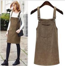Corduroy Buckle Detail Overall Dress  Spring Women Pinafore Big Pocket Dress Solid Shift Sleeveless Dress